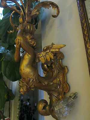 Pr Antique Italian Carved/Gilt  Wood Putti/Cherub/Angel Wall sconces/chandeliers