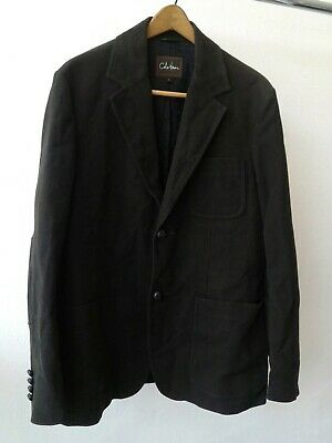 534aw562 L Cole Haan Mens Charcoal Wool Military Car Coat Jacket Leather Trim $525