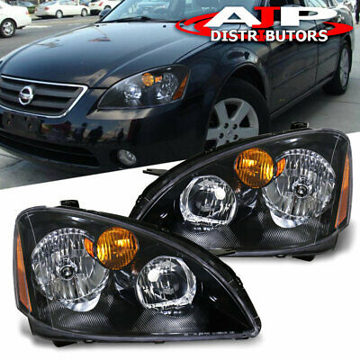 Jdm Crystal Black Housing Headlights Pair For 2002 2003 2004 Nissan Altima S/Se