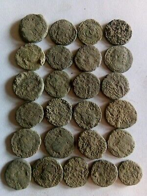 010.Lot of 25 Ancient Roman Bronze Coins,Uncleaned