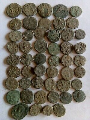 014.Lot of 50 Ancient Roman Bronze Coins,Uncleaned