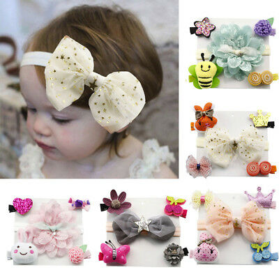 Toddler Infant Hairpin Baby Girl Bow Barrettes Hair Clip Headband Set Princess