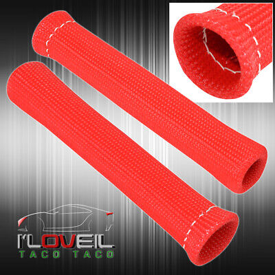 """For Smart 7"""" 2Pc Spark Plug Wire Tube Insulator Thermal Wrap Racing Unit Red"""