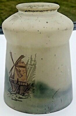 """Antique Hand Painted Frosted Glass Lamp Shade Globe 2.25"""" Fitter Windmill Dutch"""