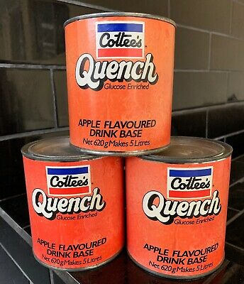 SET OF 3 X COTTEE'S QUENCH Vintage Apple Drinks Base Paper Label Tins NOS