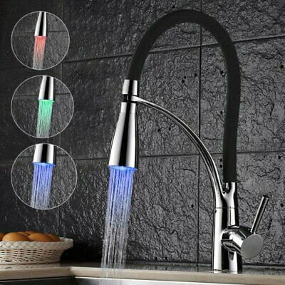 Chrome Black LED Kitchen Sink Faucet Swivel Spout Mixer Tap Pull Down Sprayer US