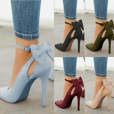 Women Fashion High Heels Pointed Toe Sandals Ankle Strap Bow-knot Stiletto Shoes