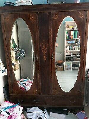 Edwardian mahogany and satinwood inlaid wardrobe retailed by Maple & Co.