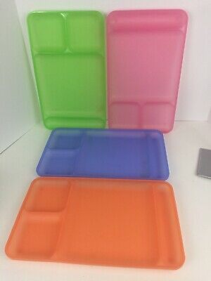 4 Tupperware Divided Trays Lunch Picnic Dinner 1535 Pink Green Orange Blue