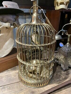 Vintage Antique Style Small Solid Brass Bird Cage Stand Hanging Taxidermy