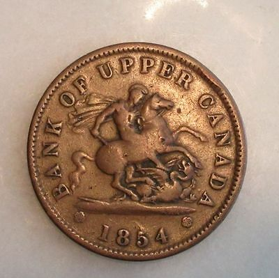 1854 Bank of Upper Canada One Penny Coin