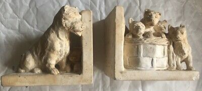 Pair 1930s Alabaster Dog & Puppies Bookends Terriers ? Made In London RD 762555