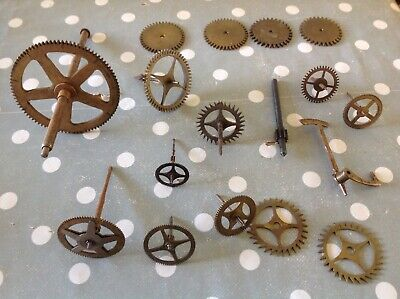 Antique Longcase And Other Clock Parts Cogs Escape Wheels
