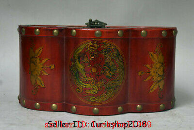 "9"" Antique Old China Wood Lacquerware Dynasty Palace Dragon Phoenix storage box"