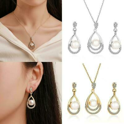 Women Fashion Gold Silver Tone Crystal Pearl Earrings Jewelry Necklace v E2H6