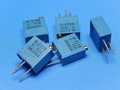"""50K OHM 3/8"""" TRIMMER MURATA PV36Y503C01B00 pack of 5"""