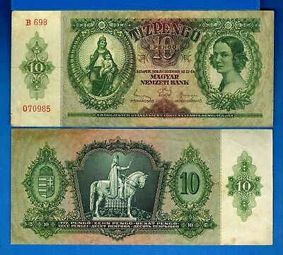 Hungary P-100 10 Pengo Year 1936 Circulated Banknote Europe