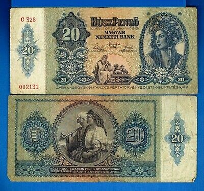 Hungary P-109 20 Pengo Year 1941 Circulated Banknote Europe
