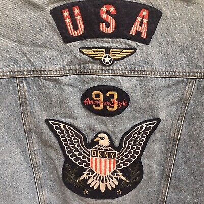 Vintage 90s DKNY Embroidered Denim Jean Vest Mens Size Large USA Eagle Patches