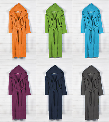 Mens, Ladies 100% Cotton Terry Toweling Hooded Bathrobe Dressing Gown Bath Robe