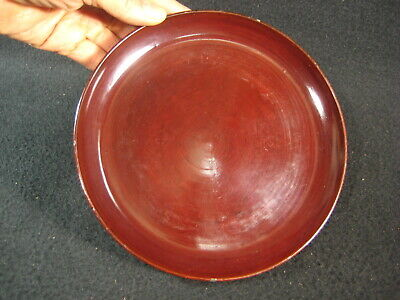 ANTIQUE JAPANESE MEIJI ERA c. 1890 BURGUNDY& BLACK LACQUER WOODEN DISH KASHIZARA