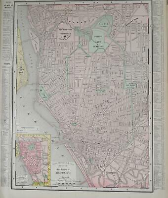 1898 Buffalo, NY Vintage Antique Dated Atlas Map* New Jersey back ..121 yrs-old!