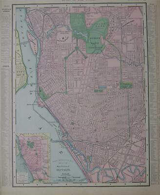 1906 Buffalo, NY Vintage Antique Dated Atlas Map* New Jersey back ..113 yrs-old!