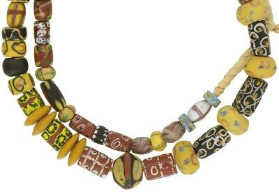 Old African trade beads millefiori feather French cross eye Venetian glass beads