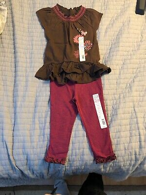 Tough skins Girls 2 Pc Outfit Size 24 MONTHS  BROWN Top And Pink Leggings NWT