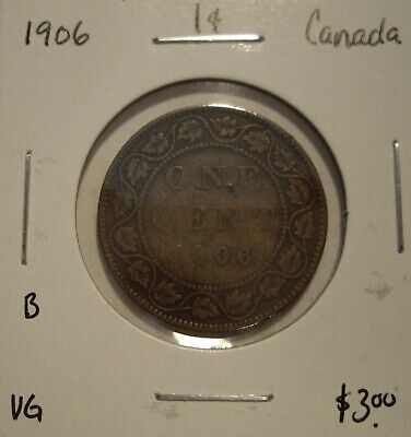 B Canada Edward VII 1906 Large Cent - VG