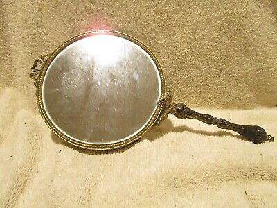 Vintage Early 1900s Beveled Glass Double Sided Brass Fancy Hand Mirror