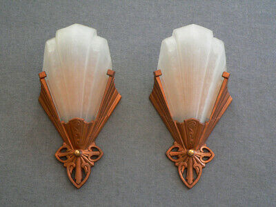 Antique pair of slip shade Art deco sconces by Virden