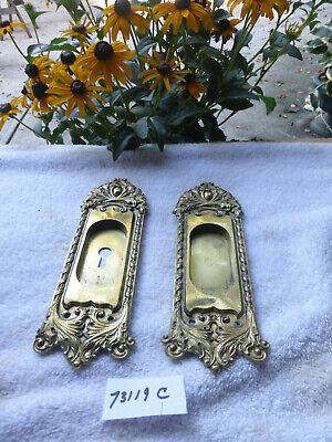 Vintage Antique CAST Brass Pocket Door Pulls Hardware 73119 C