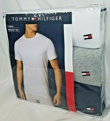 Details about Tommy Hilfiger 3 pack White Grey Navy Classic Crewneck T shirts Tee NWT