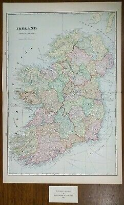 "Vintage 1902 IRELAND Atlas Map 14""x22"" ~ Old Antique LEINSTER DUBLIN GALWAY"