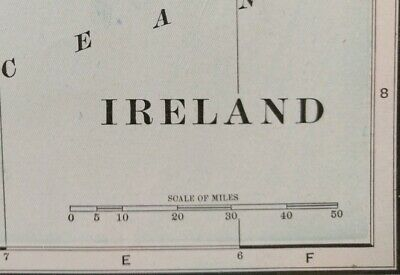 "Vintage 1902 IRELAND Atlas Map 11""x14"" Old Antique DUBLIN GALWAY MAYO NEWCASTLE"