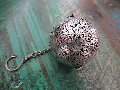 Old Chinese Silver Oil Scent Pomander Ball