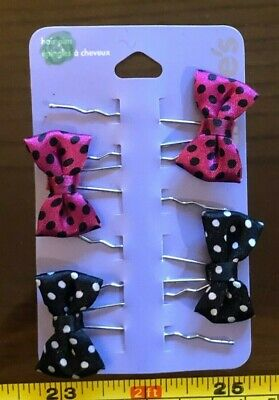 Claire's Claires Accessories Official Hair Pins Black Pink Bow x4 RRP £4 New