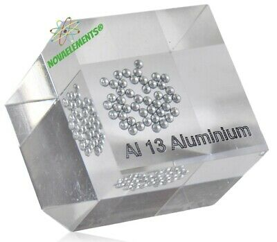Aluminium Metal Element 13 shiny sample 99,9% casted in acrylic cube 50x50mm