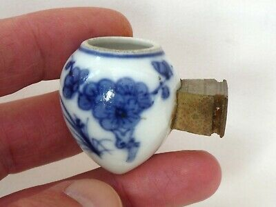 Antique Chinese Blue & White Porcelain Bird Feeder Three Friends Of Winter Qing