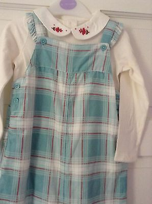 Girls Blue Dungarees And Cream Shirt Outfit. Age 2-3 Years. Bnwt. John Lewis.