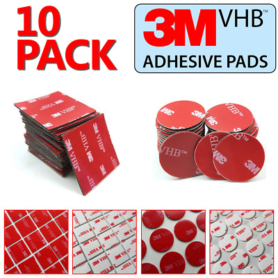 3M Double-Sided Self Adhesive Sticky Pads (10 Pack) Square & Round Sticker Tape
