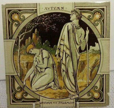 Minton Tile, Autumn, Lavinia & Palemon, By Moyr Smith, Signed, Antique 19th Cent