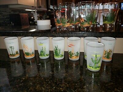 """(8) Vintage Cactus Blakely Oil Gas Mid Century Modern Western Frosted 3.5"""" Glass"""