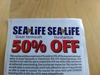 Sealife Centre Great Yarmouth / Hunstanton 50% Off Entry Voucher up to 6 People