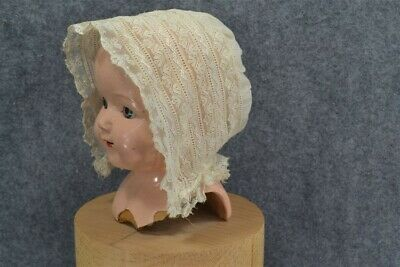 baby doll hat bonnet embroidered lace white 19th antique original