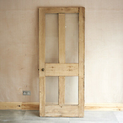 VICTORIAN 4 PANEL  CLEAR GLAZED PITCH PINE LARDER/PANTRY DOOR H187xW77xD3.5cm