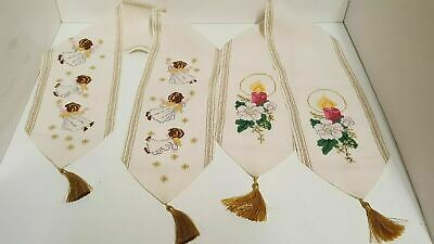 Needlepoint Needlework Christmas Flying Angels Cherubs Candle Flower Tassles