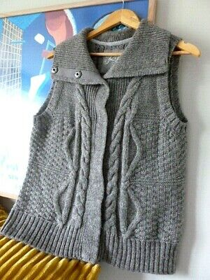 Womens FAT FACE grey cable knit wool & alpaca winter cardigan . Size 18