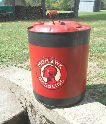 Vintage 5 Gallon Metal Gasoline Can Mohawk Oil Company Logo Decal